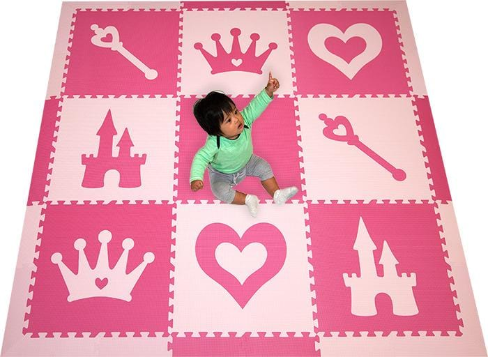 SoftTiles Princess Theme Girls Play Mat- Baby Girl Nursery Flooring