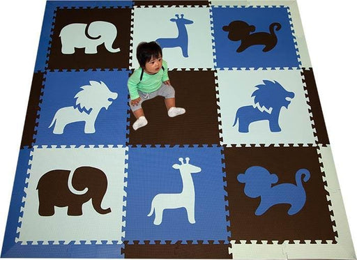 SoftTiles Safari Animals Kids Foam Play Mat (6.5 x 6.5 feet) Blue, Black, Light Blue