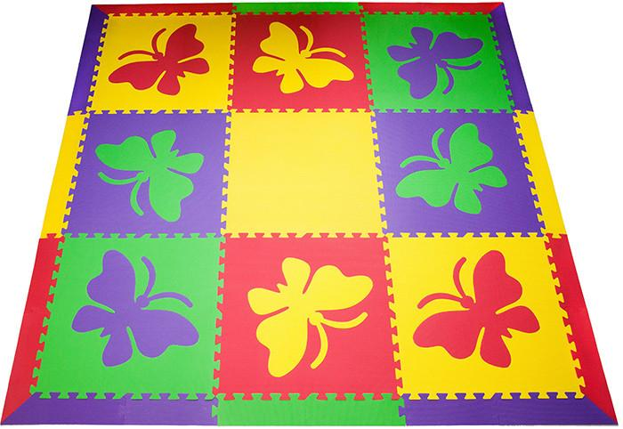 SoftTiles Butterfly Children's Play Mat Set with Borders Red, Yellow, Purple, Lime