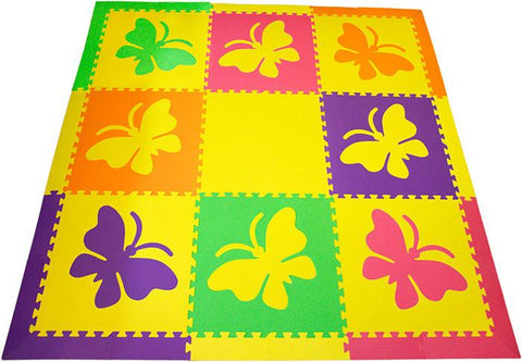 SoftTiles Butterfly Children's Play Mat Set with Borders Yellow, Pink, Purple, Lime