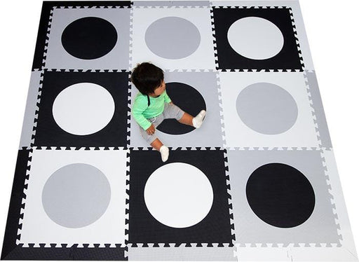 SoftTiles Circles Children's Foam Play Mat (6.5 x 6.5 feet) Black, Light Gray, White
