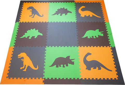 SoftTiles Dinosaur Children's Play Mat Set with Borders- Earth
