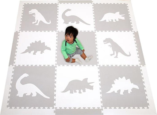 SoftTiles Dinosaur Foam Play Mats- Baby Play Mat in Light Gray and White