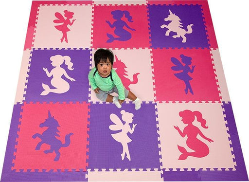 SoftTiles Fairy, Unicorn, Mermaid Theme Kids Foam Play Mat (6.5 x 6.5 feet) Pink, Purple, Light Pink