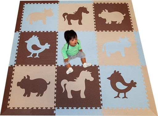 SoftTiles Farm Animals Theme Children's Play Mat (6.5 x 6.5 feet) Brown, Light Blue, Tan