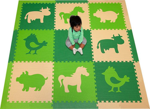 SoftTiles Farm Animals Theme Children's Play Mat (6.5 x 6.5 feet) Green, Lime, Tan