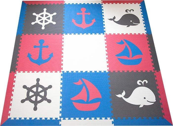 SoftTiles Nautical Theme Designer Foam Play Mat for Kids