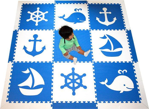 SoftTiles Nautical Theme Foam Play Mat for Kids- Blue and White