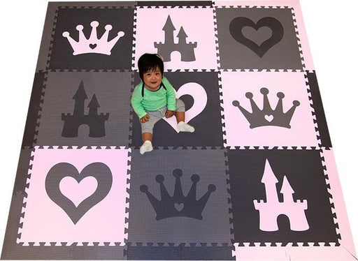 SoftTiles Princess Theme Kids Foam Play Mat (6.5 x 6.5 feet) Black, Gray, Light Pink- ONE LEFT!