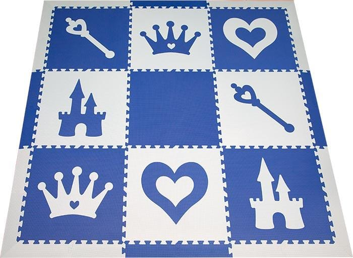 SoftTiles Princess Theme Children's Foam Play Mat (6.5 x 6.5 feet) Blue and Light Blue- AVAILABLE 6/10/21- PREORDER NOW!