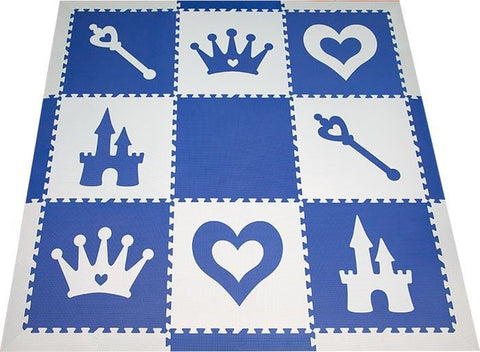 SoftTiles Princess Theme Play Mat Set with Borders Blue and Light Blue
