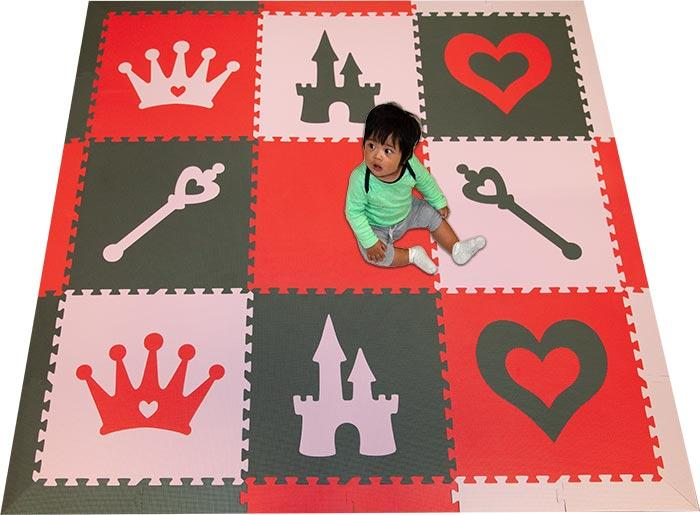 SoftTiles Princess Theme Kids Foam Play Mat (6.5 x 6.5 feet) Red, Gray, Light Pink
