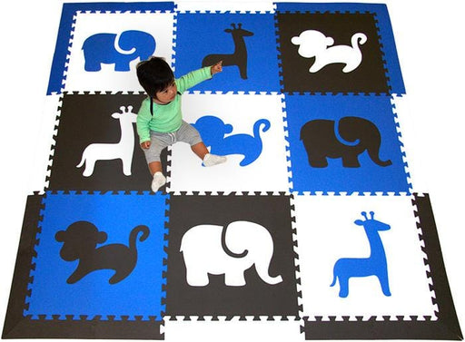 SoftTiles Safari Animals Foam Play Mat Blue, Black, White