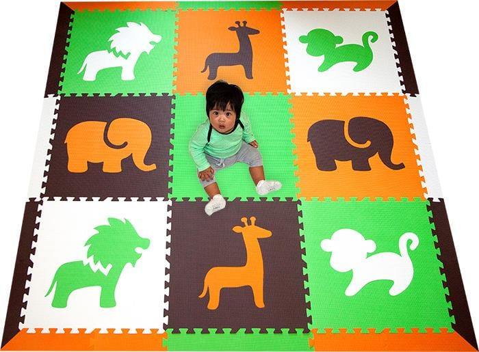 SoftTiles Safari Animals Foam Play Mat- Playroom and Nursery Flooring