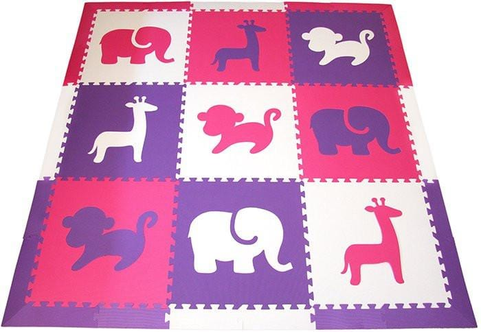 SoftTiles Safari Animals Girls Foam Play Mat Set with Borders- Pink, White, Purple