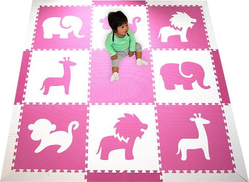 SoftTiles Safari Animals Girls Play Mat Pink and White