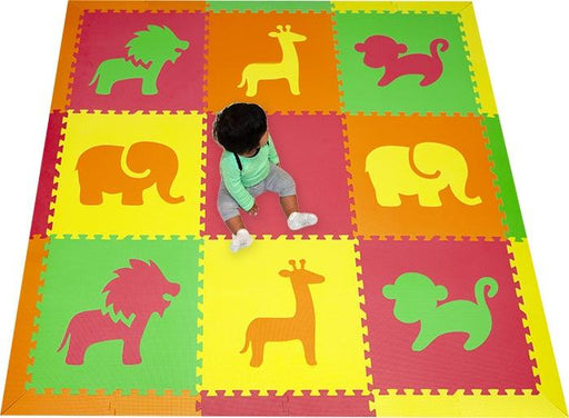 SoftTiles Safari Animals Kids Foam Play Mat (6.5 x 6.5 feet) Red, Yellow, Orange, Lime