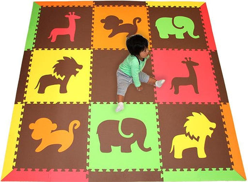 SoftTiles Safari Animals Kids Foam Play Mat (6.5 x 6.5 feet) Red, Orange, Yellow, Lime, Brown