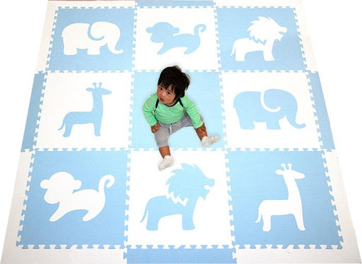 SoftTiles Baby Play Mat Light Blue and White- Nursery Room Flooring