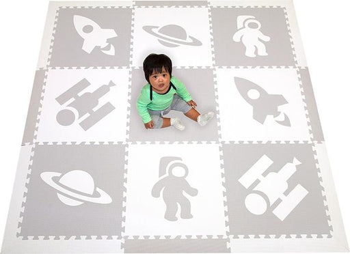 SoftTiles Space Theme Kids Foam Play Mats Light Gray and White