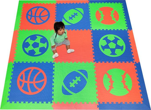 SoftTiles Sports Theme Children's Play Mat (6.5 x 6.5 feet) Red, Blue, Lime- ONE LEFT!