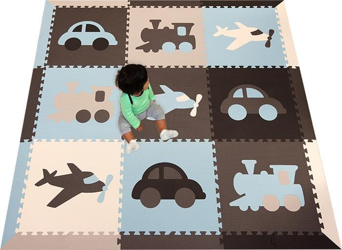 SoftTiles Transportation Theme Foam Play Mat- Kids Playroom Flooring
