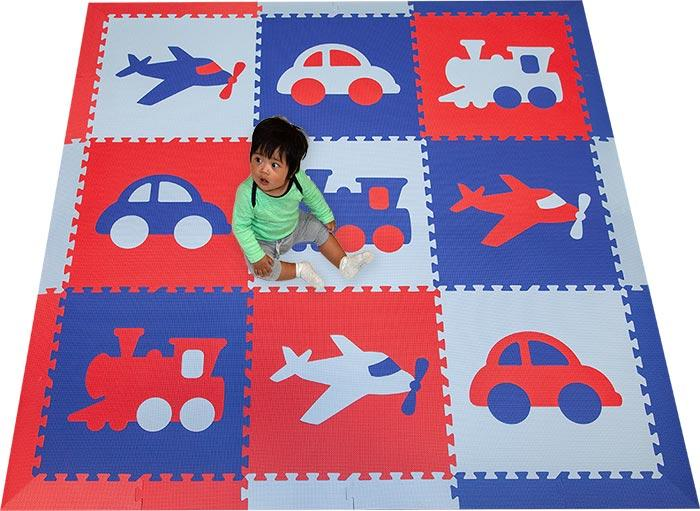SoftTiles Transportation Kids Foam Play Mat (6.5 x 6.5 feet) Red, Blue, Light Blue