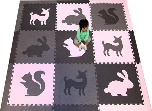 SoftTiles Woodland Animals Kids Foam Play Mat (6.5 x 6.5 feet) Black, Gray, Light Pink- AVAILABLE 6/10/21- PREORDER NOW!