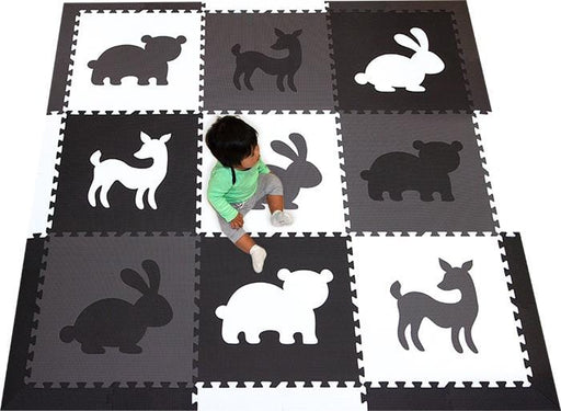 SoftTiles Playroom Foam Play mat- Woodland Black, Gray, White
