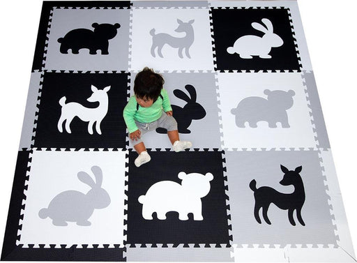 SoftTiles Woodland Animals Kids Foam Play Mat (6.5 x 6.5 feet) Black, Light Gray, White