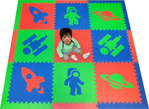 SoftTiles Space Theme Kids Foam Play Mat (6.5 x 6.5 feet) Red, Blue, Lime- AVAILABLE 6/10/21- PREORDER NOW!