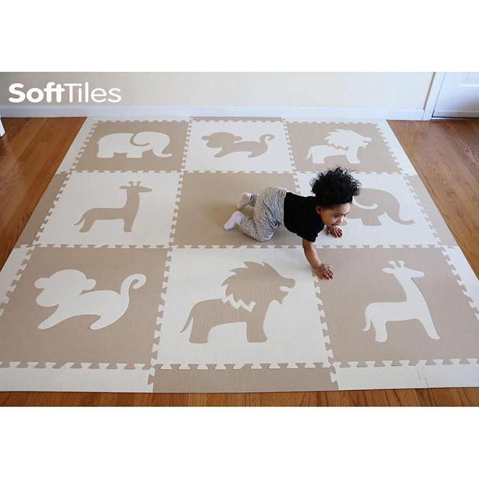 Baby crawling on SoftTiles Foam Play Mat