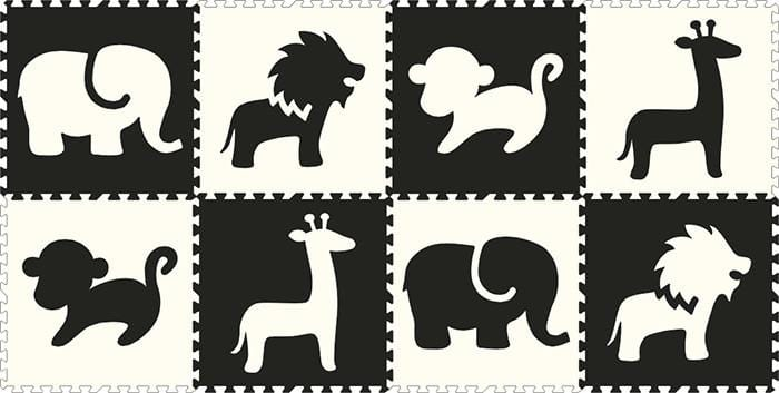 SoftTiles Safari Animals 8 Piece Set- Black and White