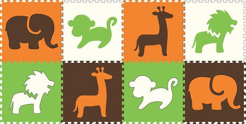 SoftTiles Safari Animals 8 Piece Set- Orange Lime Brown White