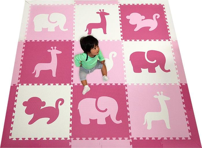 SoftTiles Safari Animals Girls Play Mat- Pink Playroom Flooring