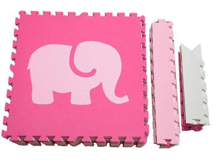 SoftTiles Safari Animals Kids Foam Play Mat (6.5' x 6.5') with Borders Pink, White, Light Pink