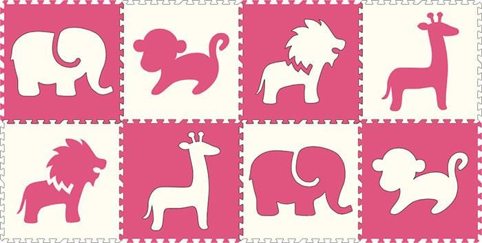 SoftTiles Safari Animals 8 Piece Set- Pink and White