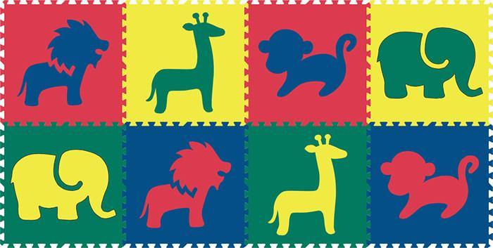 SoftTiles Safari Animals 8 Piece Set- Red, Yellow, Blue, Green