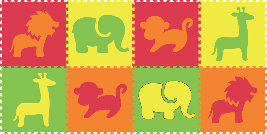 SoftTiles Safari Animals 8 Piece Set- Red, Yellow, Orange, Lime