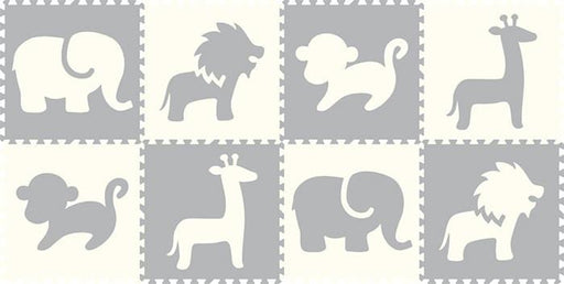 SoftTiles Safari Animals 8 Piece Set- White and Light Gray