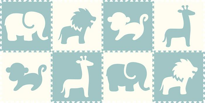 SoftTiles Safari Animals 8 Piece Set- White and Light Blue