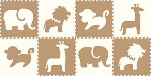 SoftTiles Safari Animals 8 Piece Set- White and Tan