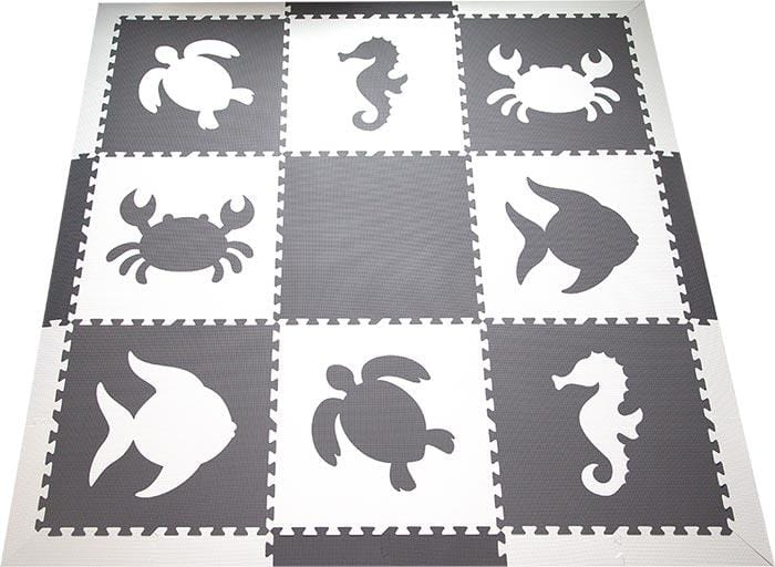 SoftTiles Sea Animals Kids Foam Play Mat (6.5 x 6.5 feet) with Borders Black and White