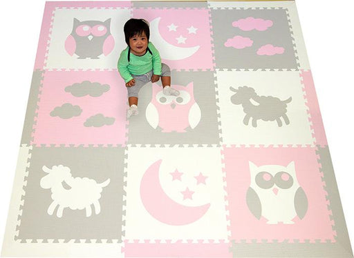 SoftTiles Sleepy Time Kids Foam Play Mat (6.5 x 6.5 feet) Light Pink, Light Gray, White