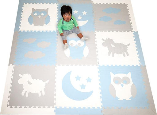 SoftTiles Sleepy Time Baby Foam Play Mat- Owls, Sheep, Moon and Stars Clouds