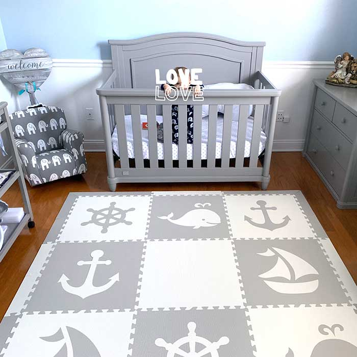 SoftTiles Nautical Theme Children's Foam Play Mat (6.5 x 6.5 feet) Light Gray, White