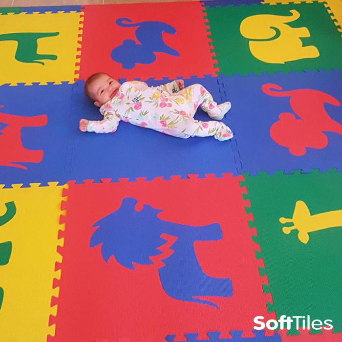 Primary Colored Play Mat- Safari Animals Foam Mat 9 Piece Set with Sloped Borders