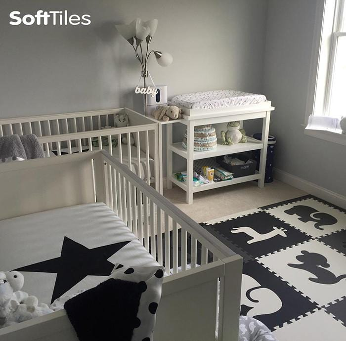 SoftTiles Foam Play Mat Set Black, Gray, and White in a Baby's Nursery