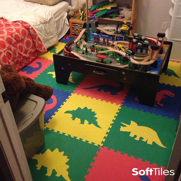 SoftTiles Dinosaur playmat in primary colors for bedrooms