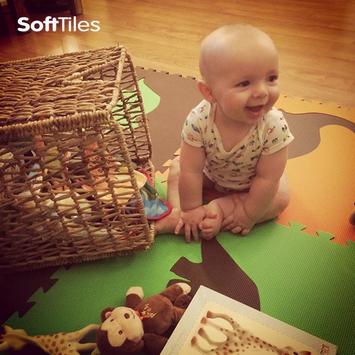 SoftTiles Dinosaur Theme Foam Play Mat for Babies